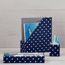 Blue Desk Accessories Fabric Desk Accessories Set Of 3 Northfield Navy Dot Pbteen