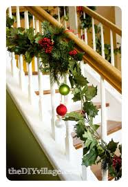 Decorating Banisters For Christmas Christmas Banister Garland The Diy Village