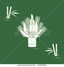 Japanese New Year Decoration Kadomatsu by Bamboo Doodle Sketchy Illustration Stock Vector 86868160