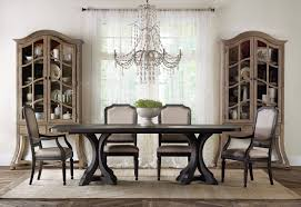 exquisite rectangular dining room tables in clean lines for the gorgeous crystal chandelier above long rectangular dining room tables in classic dining area with grey teak