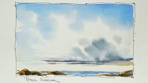 how to paint clouds and sky in watercolor in real time simple