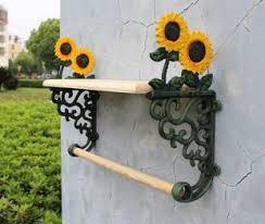 rod iron home decor country sunflower wrought iron towel rack with shelf bath