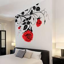 Large Flower Roses Vines Vinyl Wall Art Stickers  Wall Decals - Home decor wall art stickers