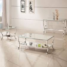 mirrored glass coffee table living room metal contemporary tables ebay