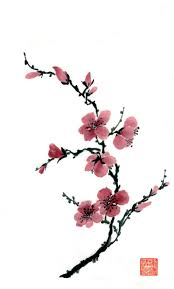 Japanese Flowers Paintings - learn chinese brush painting techniques with pauline cherrett