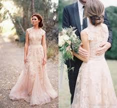pink lace wedding dress pink lace applique tulle sheer wedding dresses 2016 v neck