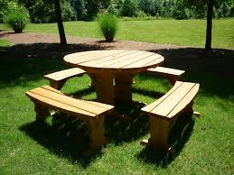 How To Make A Round Wooden Picnic Table by Wood Round Picnic Table Give A Little Enhancement For Your