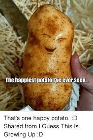 Potatoe Meme - the happiest potato ive ever seen that s one happy potato d shared