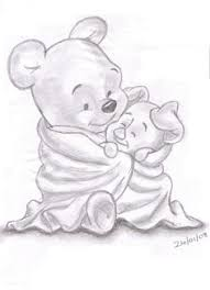 original pencil drawing winnie pooh colored pencils