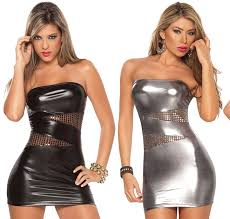 club clothes plus size faux leather top dress hollow shiny dress