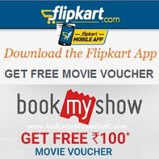 bookmyshow offer flipkart bookmyshow offer free movie voucher coupon rs 100
