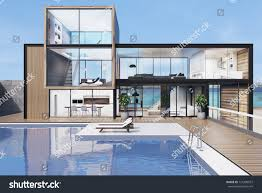 wooden glass wall mansion luxury swimming stock illustration