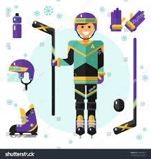 flat design vector illustration hockey equipment stock vector