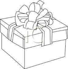 outline christmas gift wrapped box bow royalty