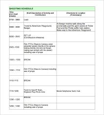 film shooting schedule template 14 free word excel pdf format