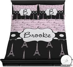 paris bonjour and eiffel tower duvet cover set personalized