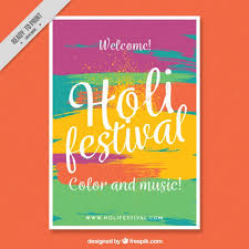 welcome brochure template colorful flyer template ready holi festival vector free