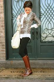 womens boots look s brown leopard crew neck sweater white sleeve blouse