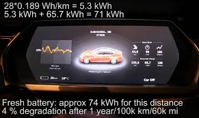 tesla model s p85 battery degradation after 1 year 100 000