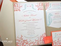 pocket wedding invitation coral reef seahorses pocket wedding invitations in your colors