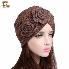 crochet flower headband women s knitted beanie headband handmade beanie with