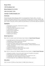 Project Resume Example by Professional Agile Project Manager Templates To Showcase Your