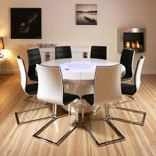 Dining Room Table Seats 8 Large Round White Gloss Dining Table Glass Lazy Susan Led Lighting