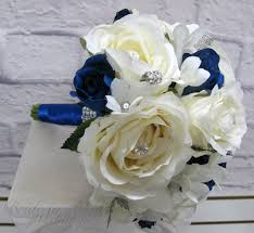 wedding flowers royal blue bridesmaid bouquet white royal blue wedding bouquet silk