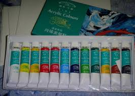 above photos are samples of acrylic paints and tools that you need for painting session more about acrylic paints here
