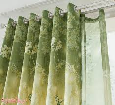 window curtains green printed flowers curtain dragonfly tulle