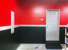 porsche themed red and black paint for garage walls garage