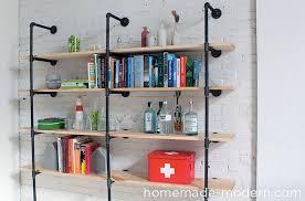 home made bookshelves homemade modern ep47 pipe shelves