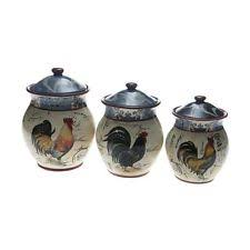 pottery canisters kitchen rooster kitchen canisters ebay