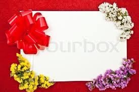 greeting card with bow and flowers design on background