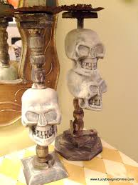 Vintage Halloween Decor Handmade Spooky Halloween Decor Dollar Store Skull Candlesticks