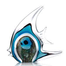 best and cheap blue blue stripe tropical fish glass sculpture home