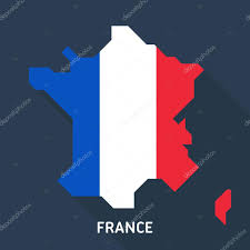 Flag Of Franc Map And Flag Of France Isolated On Blue Background With Long