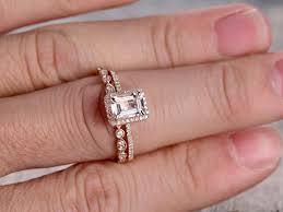 deco wedding band 6x8mm emerald cut morganite engagement ring morganite wedding ring