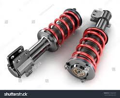 car suspension spring two shock absorber car on white stock illustration 679502209