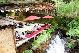 dine atop a waterfall at these u0027kawadoko u0027 restaurants hidden in
