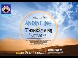 anointing thanksgiving service for the month of september 3rd