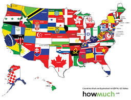 State Map Of The Us by Map Of The Us Redrawn As If The States Were Countries With The