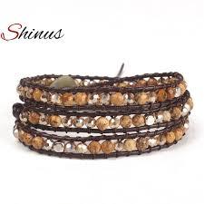 weave wrap bracelet images High end mix natural stones 5 layers leather wrap bracelets jpg