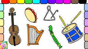 learn how to draw and color musical instruments learn colors