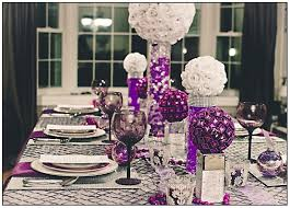 colorful tabletop decor ideas white purple and