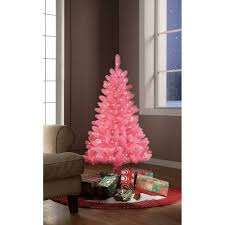 time pre lit 4 pink tinsel artificial tree