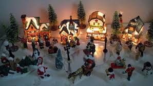 40 piece lighted christmas village set w houses villagers trees