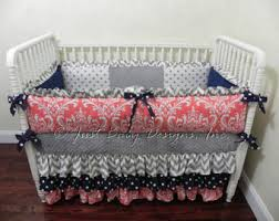 Navy And Coral Baby Bedding Custom Baby Bedding Set Halle Baby Bedding Navy And