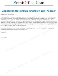 how to write letter bank manager for signature change
