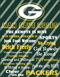 green bay packers man cave rules wall decor sign instant download